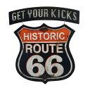 """高さ約43cm """"Get Your Kicks Historic Route66(ヒストリック・ルート66)"""" エンボス ダイカットメタルサイン(ティンサイン)【壁掛け インテリア クラシック サインプレート ブリキ看板】"""