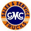 GMC TRUCKS SALES AND SERVICE 直径30cm オレンジ×ネイビー 丸型