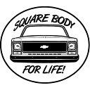 【シボレー】【ステッカー シール】S-10 CK1500 2500 ステッカー Square Body For Life 約12.5m×10.6cm 【 デカール ビニールデカール 高品質 カーステッカー 車 楕円 】 【CHEVROLET】