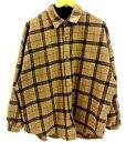 【中古】neos ネオス L/S チェック柄 シャツ JKT 長袖 ジャケット アウター ベージュ 肌 メンズ サイズ:L 万代Net店