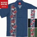 ショッピングマンゴー かりゆしウェア 沖縄アロハ アロハシャツ MANGO HOUSE マンゴハウス 国産 リゾート 結婚式 メンズ 191075 紅型美ら花ボーダー ( 開襟シャツ )