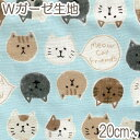 [BE4] コスモ もちもち猫フレンズ Eブルー系 10cm AP-12904-2 Wガーゼ生地