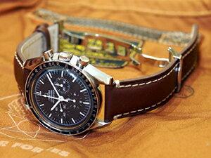 時計ベルトをモレラートのエクスクルーシブに交換したオメガ スピードマスタープロフェッショナル
