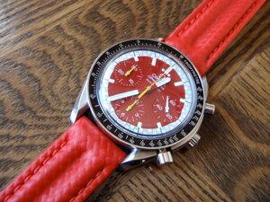 時計ベルトをモレラートのスピードに交換したオメガ スピードマスターシューマッハモデル限定モデル(1998年)
