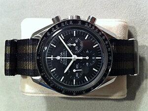 時計ベルトをモレラートのナトーに交換したオメガ スピードマスタープロフェッショナル