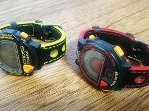 時計ベルトをモレラートのボーリングに交換したSEIKOデジタルウオッチ