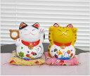 可愛い招き猫の置物兼貯金箱セット!招き猫置物プレゼントにも喜ばれています。陶器貯金箱 招き猫