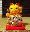 黄色い金運招き猫七福神(大)