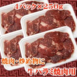 【商番1101】【11時までの注文で当日発送!(水日祝除く)】 牛ハラミ焼肉用 1kg(250g×4)