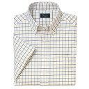 B・D半袖オックスフォードチェックシャツ(ワイシャツ)<綿100%形態安定>3S〜ELL 4色(イエロー)