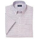 ショッピング半袖 B・D半袖オックスフォードチェクシャツ<綿100%形態安定>3S〜ELL 4色(レッド)