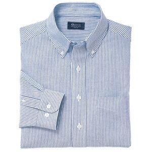 B・D長袖オックスフォードストライプシャツ(ワイシャツ)<綿100%形態安定>3S〜ELL 4色(ブルー)