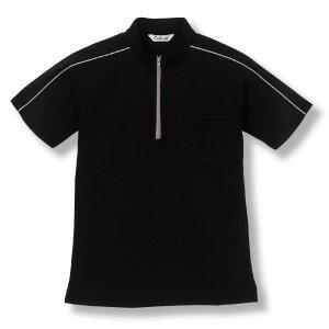 クイックドライジップアップ半袖シャツ/立衿[ブラ...の商品画像