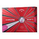 【即納】【数量限定】【2018年】 Callawy キャロウェイ CHROME SOFT TRUVIS クロムソフト トゥルービス ホワイト/ピンク ゴルフボール 1ダース 日本正規品 ゴルフ用品