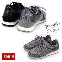 エドウィン EDWIN スパンコール レースアップ スニーカー 靴 レディース靴 スニーカー グリッター ラメ 白底 合皮 キラキラ スエード調 柔らかい クッション