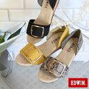 EDWIN エドウィン スクエアバックル ベルト セパレート サンダル 靴 レディース サンダル その他 かかとあり キレイめ 合皮 コルク ウェッジ 歩きやすい コンフォート パイソン ヘビ柄 リネン ゴールド 金具 メタル san 2020