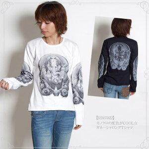 モノクロ ガネーシャロング Tシャツ アジアン ファッション エスニック ボヘミアン オリエンタル アジアンテイスト