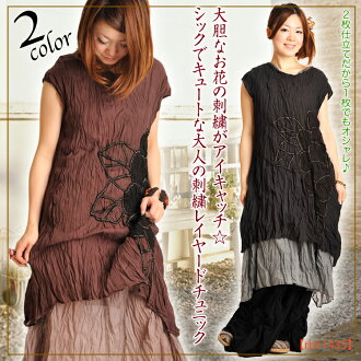 Embroidery lei yard one piece ♪ M@D0403 of adult that eye catch ☆ is cute, and the embroidery of a one piece lady's bold flower is chic