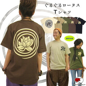 Round and round Lotus / Lotus pattern T shirt fs3gm.