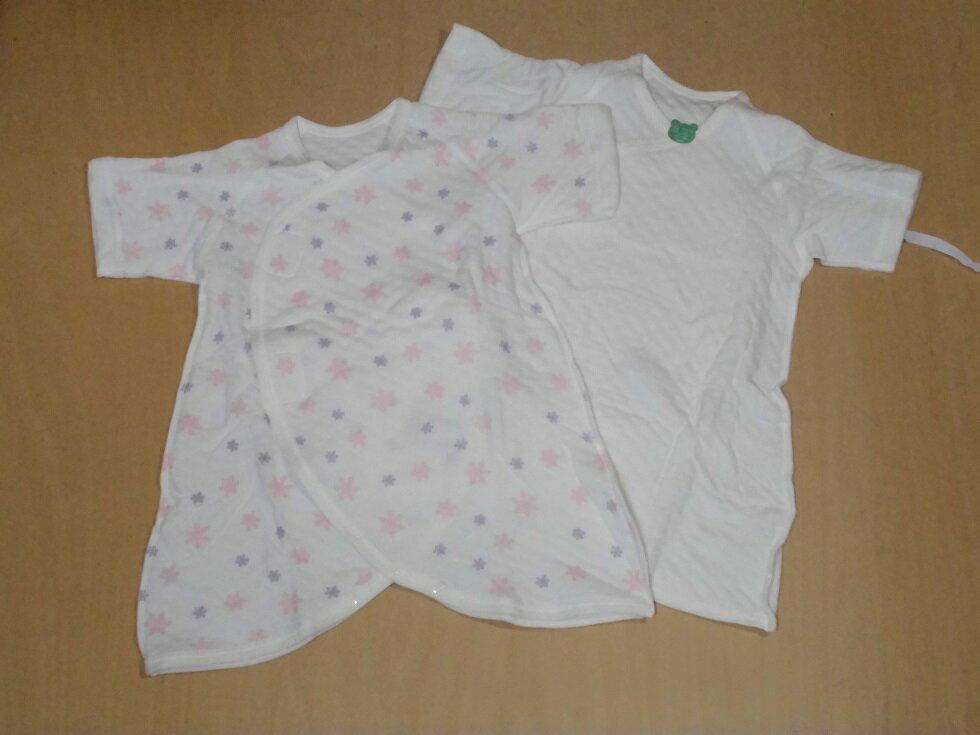 産まれておめでとうベビーちゃんのコンビ肌着(2枚組)新生児用白無地とゆきじるし50〜60cm