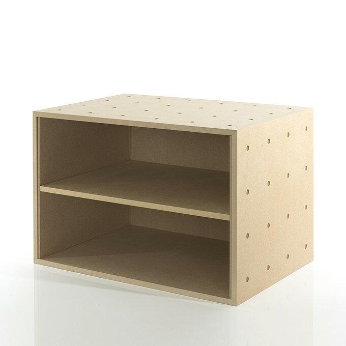 A3書類・ファイル収納ボックス 平置き2段 木製(書類棚 カラーボックス ストレージボックス キューブボックス キューブ ボックス スタッキング ラック)BLC-12-G2/マルゲリータ
