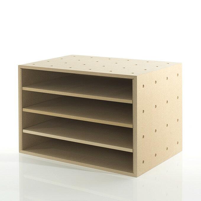 A3書類・ファイル収納ボックス 平置き4段 木製(書類棚 カラーボックス ストレージボックス キューブボックス キューブ ボックス スタッキング ラック)BLC-12-G/マルゲリータ