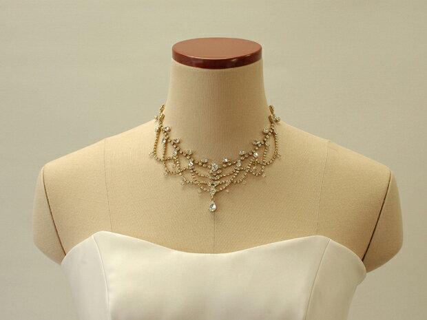 【送料無料】【ネックレス】ラインストーンの華麗なネックレス!ピアス・