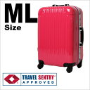 スーツケース 1年保証 送料無料 TSAロック搭載 SUITCASE 軽量 アルミフレームタイプ ポリカコート 5日〜1週間対応 中型 旅行かばん MLサイズ 5日6日7日 『5025-66』【FS_708-1】