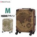 【W-7500-60】スーツケース M サイズ キャリーケース キャリーバッグ 中型 5日 6日 7日 フレーム 送料込み 修学旅行 WORLD TRUNK ワールドトランク