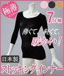 【安心 高品質の日本製】 レディース ストッキングインナー 7分袖 【M-L/L-LL】 薄い 軽い 暖かい アウターにひびかない素肌感覚の極薄 あったか インナー 七分袖 ブラック ベージュ ピンク 黒 ストッキング素材でフィット 伸縮性抜群 長袖 大きいサイズ