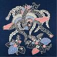 【風呂敷】京都marimari シャンタン反応友禅 鳳凰に桐(日本製)四巾 綿100%(128×128cm)(紺)