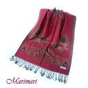 ショッピングひざ掛け 艶やかタージマハールに舞う華麗な蝶パシュミナストール フリンジマフラー風 防寒具 羽織り ひざ掛け クリスマスプレゼント和装に似合う真紅