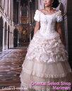 ショッピングパニエ ウェディングドレス 結婚式 ブライダル 二次会 パーティー 披露宴フレンチスリーブにフリル切替多彩なフリル三段ティアードプリーツチュールレースRAKUパニエ付き