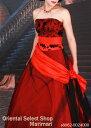 カラードレス 結婚式 ブライダル 二次会パーティー 披露宴 挙式 花嫁ブラックレッドお色直し用カラードレスウェストサッシュパニエ付きプリンセスライン