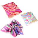 ショッピング正方形 訳あり シルク100%スカーフ曲線美 パステルカラーネッカチーフサイズ約50cm正方形電磁波デザイン