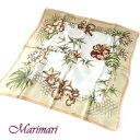 地紋入り 大判シルクスカーフ竹藪に蘭の花柿色額に入れて飾れる約80cm正方形