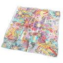 ショッピング正方形 大判シルクスカーフインド摩訶不思議ワールドへようこそ細かいペイズリーがカラフル額に入れて飾れるデザイン約80cm正方形◆