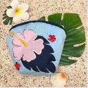 【クーポン発行!7/5は最大P34倍】 ハワイアンキルト Hawaiian Quilt ハイビスカスコインケース ブルー インテリア小物 財布 小銭入れ 小物入れ がま口