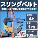 スリングベルト 1m 幅100mm 使用荷重4t ベルトスリング 繊維ベルト 吊りベルト クレーンベルト 帯ベルト 吊り上げ ナイロンスリング 建設機械 船舶 運搬作業 ポリエステル素材 土木 農林業 造船 牽引 板金塗装 吊る レッカー フレーム修正