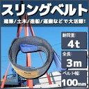 スリングベルト 3m 幅100mm 使用荷重4t ベルトスリング 繊維ベルト 吊りベルト クレーンベルト 帯ベルト 吊り上げ ナイロンスリング 建設機械 船舶 運搬作業 ポリエステル素材 土木 農林業 造船 牽引 板金塗装 吊る レッカー フレーム修正