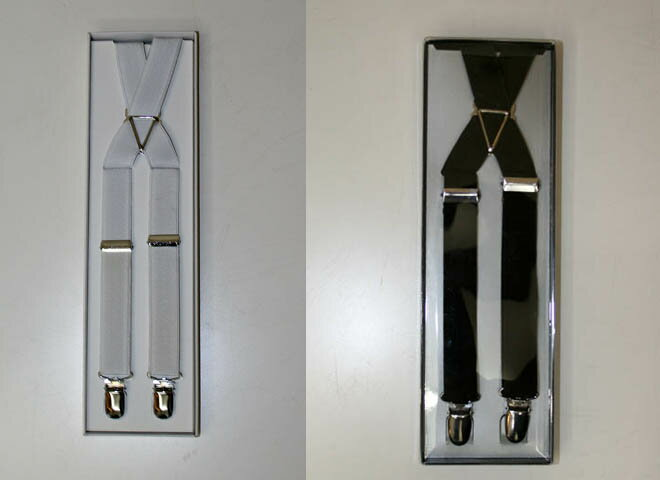 White / black one size fits most Tuxedo suspenders, up suspenders! Formal suits, business suits, etc. extensively, can be available! Formal band suspended, suspenders, wide suspenders!