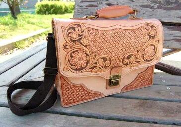 ハンドメイド レザーカービングバッグ(本革製ショルダーバッグ) 最上級国産牛ヌメ革