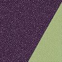ポリエステル一越織風呂敷両面染 二巾(約70×70cm)あられ小紋(紫)/無地(ヒワ)