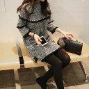 ワンピース パール フリル ラウンドネック オルチャンファッション 可愛い 秋 冬 長袖 ショート丈 ミニ丈 お出かけ デート カジュアル 上品 フェミニン ガーリー 個性的 大人 韓国ファッション レディース グレー M L XL 2XL 可愛い