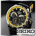Pulsar Men's PU2007 Watch SEIKO セイコー PULSAR パルサー PU2007 クロノグラフ メンズ ウォッチ レザーベルト 腕時計 黒 黄 100m防水 日本未発売 海外限定 男性用