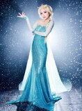 大ヒット映画 アナと雪の女王 エルサ風 大人用 ドレス コスチューム レディス Disney ディズニー 女性用 コスプレ ドレス 衣装 ハロウィン 仮装