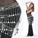 ベリーダンス 衣装 Crocheted ヒップスカーフ ベルト Sequins & 188pcs Silver Coins コスチューム ダンス 衣装 発表会