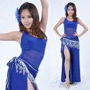ベリーダンス 衣装 3 セット ベスト トップ & Split パンツ & Tassel ベルト 9 カラー コスチューム ダンス 衣装 発表会
