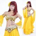 ベリーダンス 衣装 2 セット ブラ&ベルト 32-34A/B/C without スカート Gold コスチューム ダンス 衣装 発表会