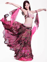 Luxury ベリーダンス 衣装 4 セット ブラ&ベルト&スカート&アームバンド 34B/C 36B/C 38B/C コスチューム ダンス 衣装 発表会